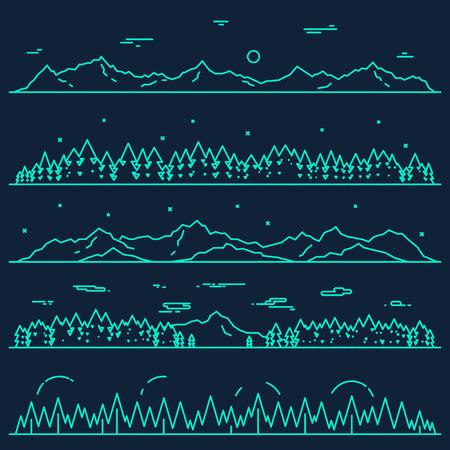 風景: モミの森デザイン要素ベクトル図線形スタイルで山の水平方向の抽象的なバナーの設定  イラスト・ベクター素材