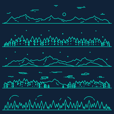 horizontal: Set of horizontal abstract banners of mountains with fir forest design elements vector illustration linear style