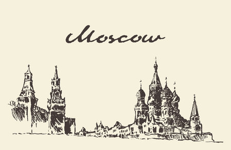 kremlin: Moscow Russia Red square Kremlin Saint Basil s Cathedral vector illustration hand drawn sketch