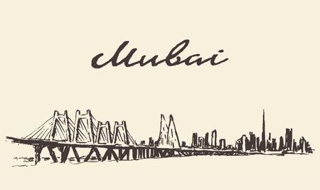 bombay: Mumbai big city architecture vintage engraved illustration hand drawn sketch Illustration