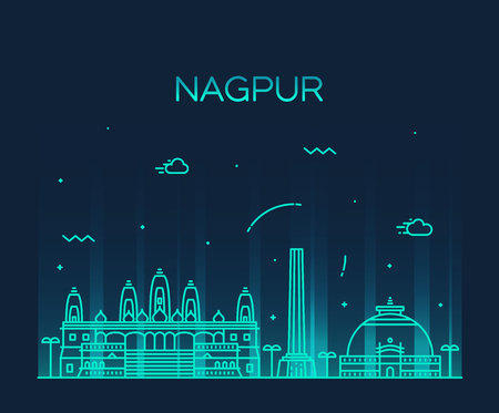 nagpur: Nagpur skyline detailed silhouette Trendy vector illustration linear style