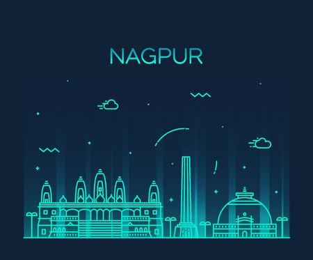 Nagpur skyline detailed silhouette Trendy vector illustration linear style