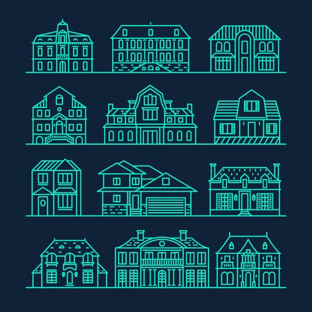 office construction: Big set of houses icons design elements vector illustration trendy linear style