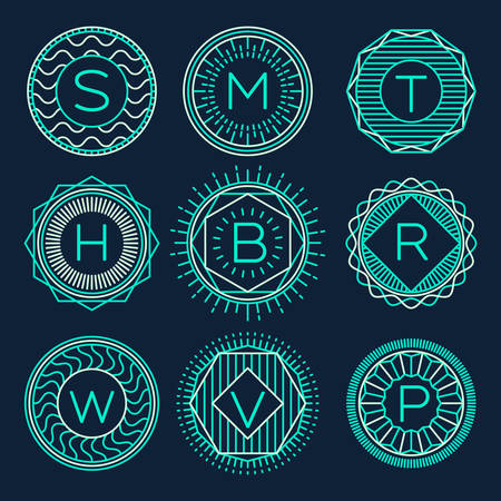 simple logo: Set of trendy monograms logotypes template design elements vector illustration linear style
