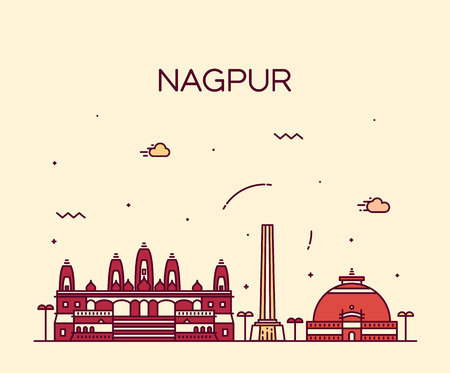 hindu temple: Nagpur skyline detailed silhouette Trendy vector illustration linear style
