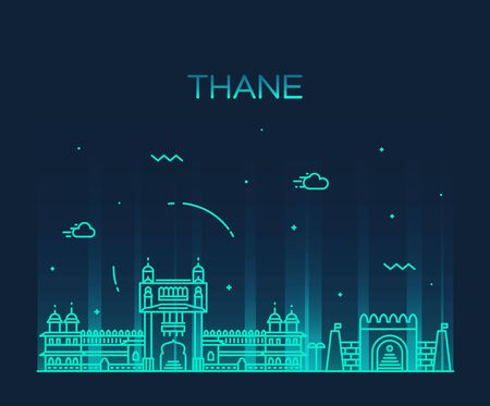 city icon: Thane skyline detailed silhouette Trendy vector illustration linear style Illustration