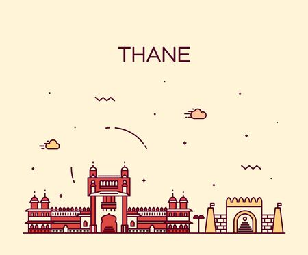 palaces: Thane skyline detailed silhouette Trendy vector illustration linear style Illustration