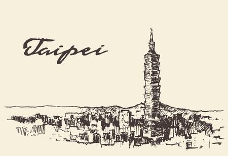 Taipei skyline Taiwan vector illustration hand drawn sketch