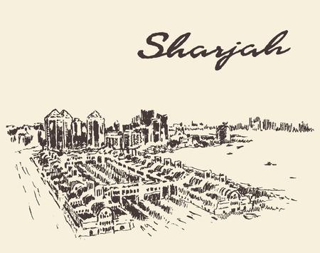 sharjah: Sharjah Arab Emirates skyline vector illustration hand drawn sketch Illustration