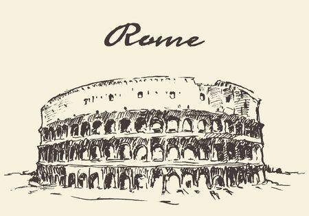 shah: Streets in Rome Colosseum vector illustration hand drawn sketch Illustration