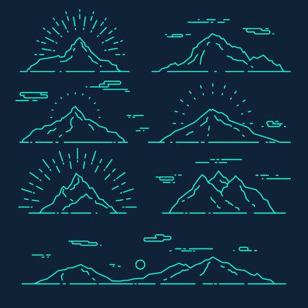 montagna: Set di montagne illustrazione vettoriale moda stile lineare