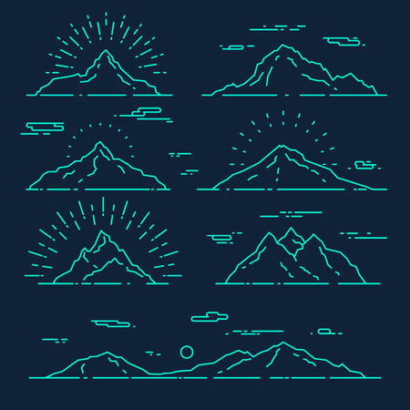 mountain top: Set of mountains vector illustration trendy linear style