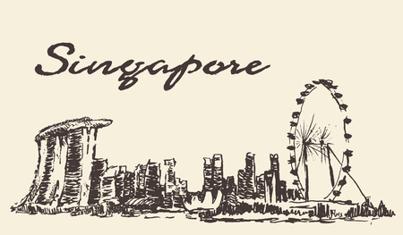 Singapore skyline vector illustration hand drawn sketch
