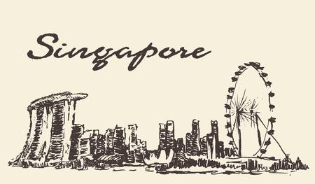bocetos de personas: esbozo de Singapur ilustraci�n del vector del horizonte dibujado a mano