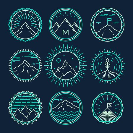 logotypes: Set of mountains icons logotypes monograms Concept design elements vector illustration trendy linear style