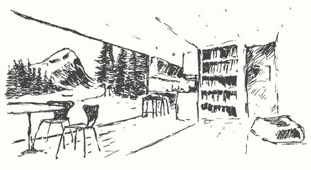 cozy: Modern interior illustration Cozy bar restaurant cafe or kitchen Hand drawn sketch