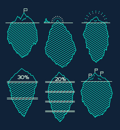 berg: Set of icebergs with infographic elements vector illustration linear style