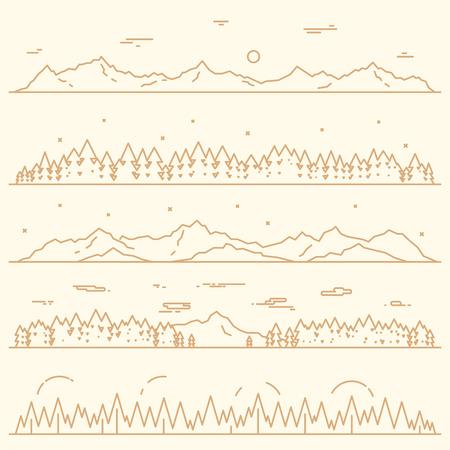 Ensemble de bannières abstraites horizontales de montagnes avec des éléments de conception de la forêt de sapin style vecteur illustration linéaire