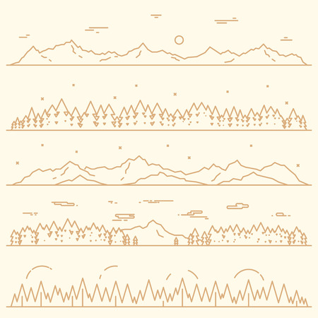 fog forest: Set of horizontal abstract banners of mountains with fir forest design elements vector illustration linear style