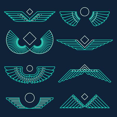 halcones: Conjunto de alas plantilla de elementos de diseño de estilo lineal ilustración vectorial Vectores