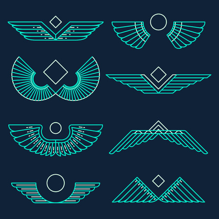 eagle feather: Set of wings template design elements vector illustration linear style