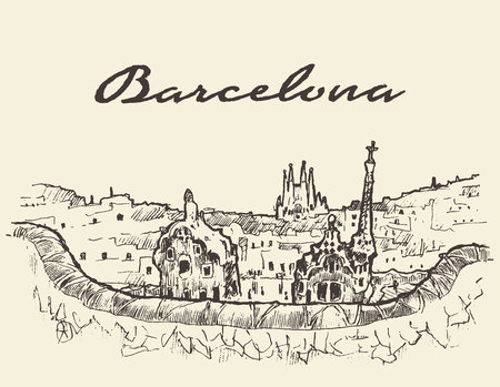 vintage landscape: Barcelona landscape Spain vintage engraved illustration hand drawn sketch