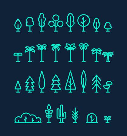 Set kinds trees palms fir spruces bushes cactus linear Illustration