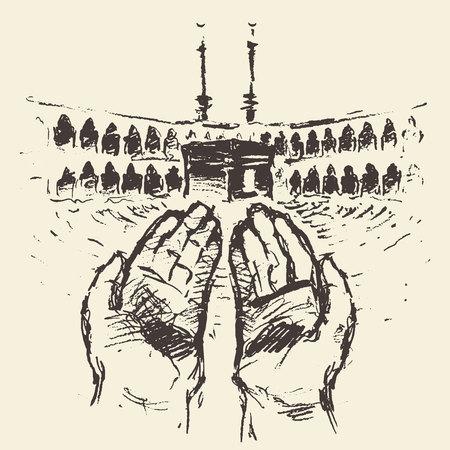 Heilige Kaaba in Mekka Saudi-Arabië met biddende handen vector gegraveerde illustratie hand getekend