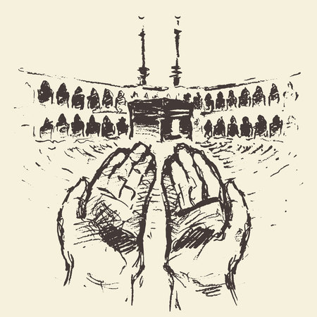 Holy Kaaba in Mecca Saudi Arabia with praying hands vector engraved illustration hand drawn Vectores