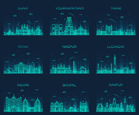 bhopal: Set of Indian cities skylines Surat Visakhapatnam Thane Patna Nagpur Lucknow Indore Bhopal Kanpur Trendy vector illustration linear style