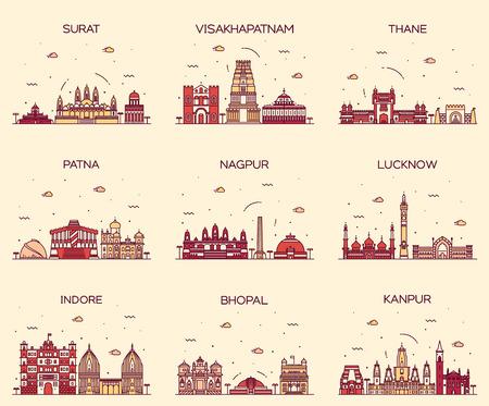 in city: Conjunto de ciudades de la India SKYLINES vector de estilo de ilustración lineal Surat Visakhapatnam Thane Patna Lucknow Nagpur Indore Bhopal Kanpur moda