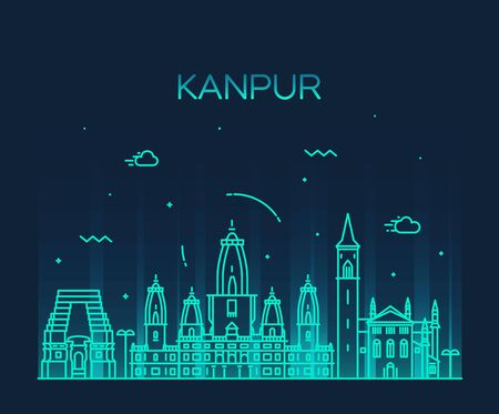 shri: Kanpur skyline detailed silhouette Trendy vector illustration linear style
