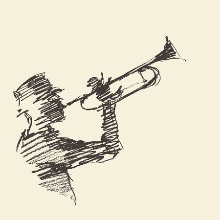 brass: Concept for jazz poster Man playing the trumpet Vintage hand drawn illustration sketch