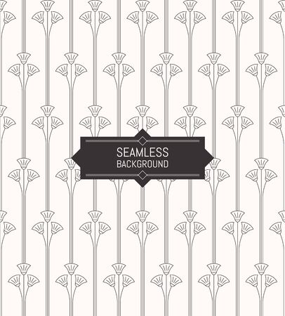 art deco: Vector seamless modern Art Deco pattern background Stylish floral texture. Trendy linear style Illustration