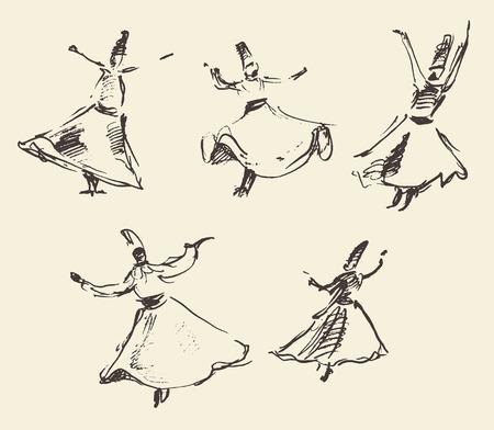 Whirling dervishes vector illustration hand drawn sketch