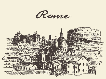 Streets in Rome Italy vector illustration hand drawn sketch