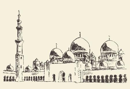 Abu Dhabi main mosque Sheikh Zayed Mosque vintage engraved illustration hand drawn Фото со стока - 52512050