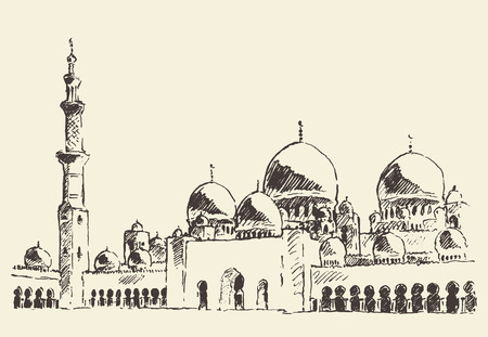 Abu Dhabi main mosque Sheikh Zayed Mosque vintage engraved illustration hand drawn