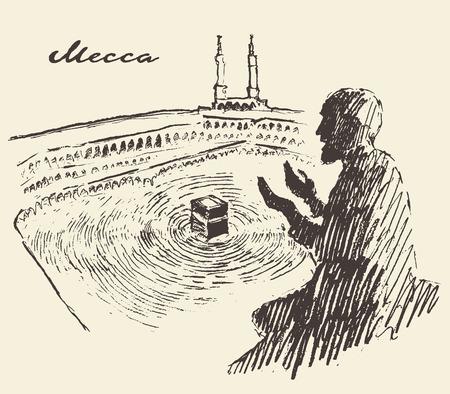 Kaaba en La Meca Arabia Saudita con el bosquejo rezar el hombre cosecha ilustración grabada dibujado a mano