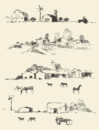 Het verzamelen van de hand getekende landschap landschappen Landschappen met velden en heuvels Vector illustratie schets