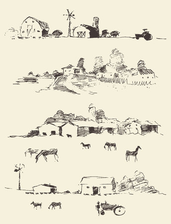 Collection of hand drawn countryside landscapes Rural landscapes with fields and hills Vector illustration sketch