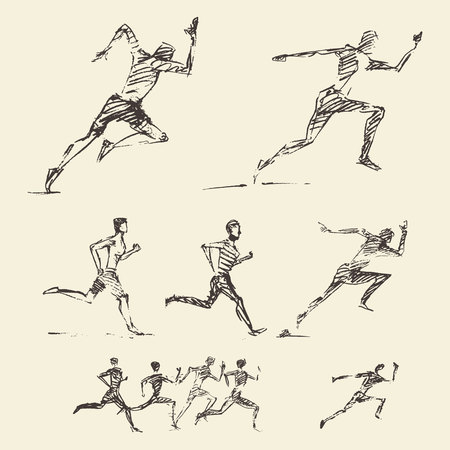 runners: Collection of hand drawn running man healthy lifestyle Vector illustration sketch