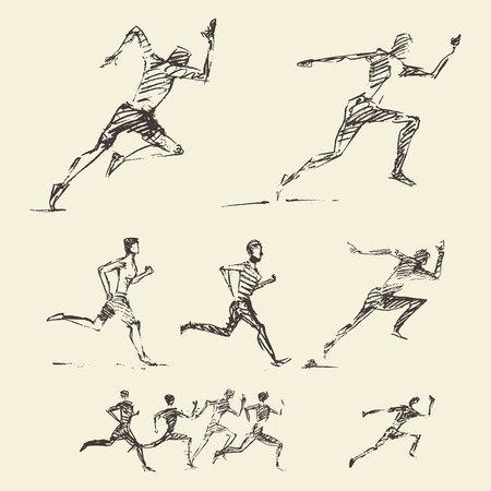 Colección de dibujado a mano que corría estilo de vida saludable Ilustración del vector del bosquejo