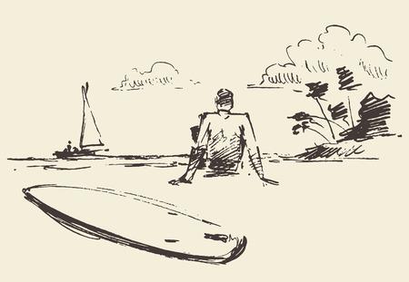 Illustrazione disegnata a mano di giovane uomo seduto sulla spiaggia con vista mare nei pressi di una tavola da surf illustrazione vettoriale schizzo