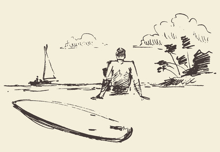 Hand drawn illustration of young man sitting on the beach with seaview near a surfboard vector illustration sketch
