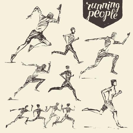 corriendo: Colección de dibujado a mano que corría estilo de vida saludable Ilustración del vector del bosquejo