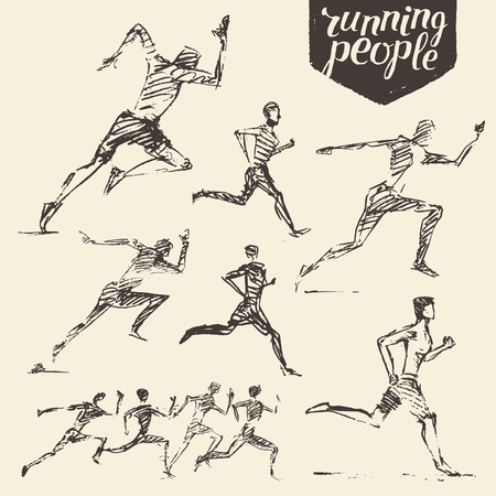 man illustration: Collection of hand drawn running man healthy lifestyle Vector illustration sketch