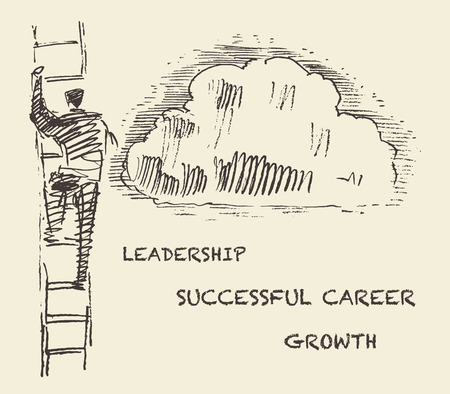 career success: Hand drawn vector illustration of a man climbing on a stair in the sky successful career concept challenge vector illustration sketch