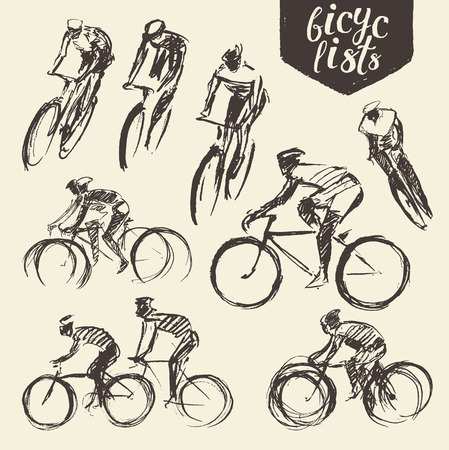 Hand drawn set of bicyclist rider men with bikes isolated on background, vector illustration, sketch