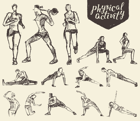Fitness en gymnastische oefeningen. Hand getrokken vector illustratie, schets Stock Illustratie